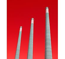 Energy - Three Smoke Stacks on a Red Background Photographic Print