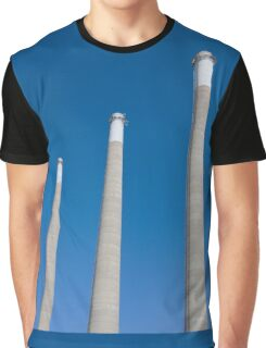 Energy - Three Smoke Stacks on a Blue Sky Graphic T-Shirt