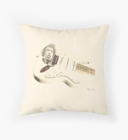 Jimmy Hendrix Stratocaster Throw Pillow