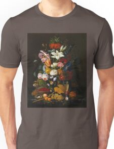 Severin Roesen - Victorian Bouquet 1850. Still life with flowers: bouquet, flowers, bumblebee , carnations, peonies, roses, tulips, marigolds, life, garden, blossom Unisex T-Shirt