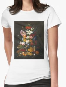 Severin Roesen - Victorian Bouquet 1850. Still life with flowers: bouquet, flowers, bumblebee , carnations, peonies, roses, tulips, marigolds, life, garden, blossom Womens Fitted T-Shirt