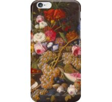 Severin Roesen - Still Life 1852. Still life with flowers: bouquet, flowers, bumblebee , carnations, peonies, roses, tulips, marigolds, life, garden, blossom iPhone Case/Skin