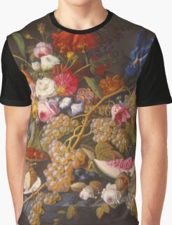 Severin Roesen - Still Life 1852. Still life with flowers: bouquet, flowers, bumblebee , carnations, peonies, roses, tulips, marigolds, life, garden, blossom Graphic T-Shirt