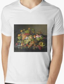 Severin Roesen - Abundant Fruit 1858. Still life with fruits and vegetables: strawberries , champagne,, lemon , grapes , cherries, peaches, apples, pears, apricots, raspberries, vase Mens V-Neck T-Shirt