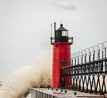 South Haven Lighthouse Withstanding the Waves by Robert Kelch, M.D.