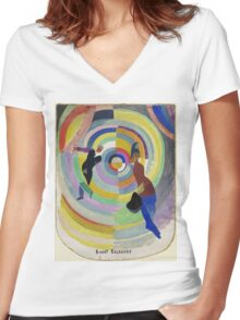 Robert Delaunay - Political Drama. Abstract painting: abstraction,  Drama, Political , composition, lines, forms, geometric, music, kaleidoscope, illusion, fantasy future Women's Fitted V-Neck T-Shirt
