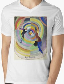 Robert Delaunay - Political Drama. Abstract painting: abstraction,  Drama, Political , composition, lines, forms, geometric, music, kaleidoscope, illusion, fantasy future Mens V-Neck T-Shirt