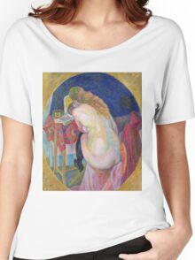 Robert Delaunay - Nude Woman Reading. Abstract painting: abstraction, geometric, Nude Woman, Reading, lines, forms, creative fusion, music, kaleidoscope, illusion, fantasy future Women's Relaxed Fit T-Shirt