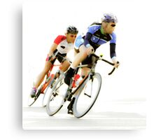 Cyclists into the Last Curve - Color Version Canvas Print