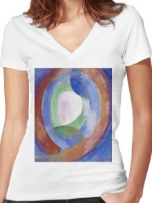 Robert Delaunay -  Forms Circular. Abstract painting: abstraction, geometric, expressionism, composition, lines, forms, creative fusion, music, kaleidoscope, illusion, fantasy future Women's Fitted V-Neck T-Shirt