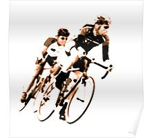 Cyclists into the Curve - High Contrast Sepia Poster