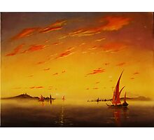 Ships on Sunset Photographic Print