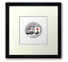 Ambulance Emergency Vehicle Driver Waving Cartoon Framed Print