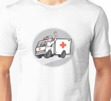 Ambulance Emergency Vehicle Driver Waving Cartoon Unisex T-Shirt