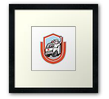 Ambulance Emergency Vehicle Driver Waving Shield Cartoon Framed Print