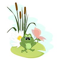 A cute cartoon Frog Photographic Print