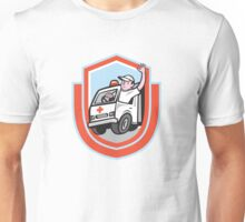 Ambulance Emergency Vehicle Driver Waving Shield Cartoon Unisex T-Shirt
