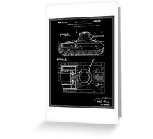 Tank Patent - Black Greeting Card