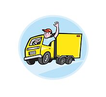Delivery Truck Driver Waving Cartoon by patrimonio