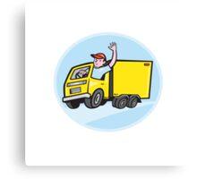 Delivery Truck Driver Waving Cartoon Canvas Print