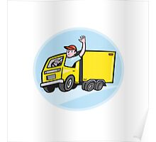 Delivery Truck Driver Waving Cartoon Poster