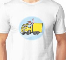 Delivery Truck Driver Waving Cartoon Unisex T-Shirt