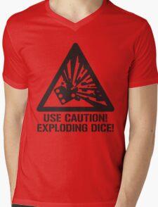 Use Caution! Exploding Dice! Mens V-Neck T-Shirt