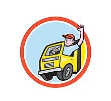 Delivery Truck Driver Waving Circle Cartoon by patrimonio