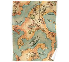 Coloured fantasy map Poster