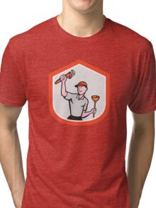 Plumber Wielding Wrench Plunger Cartoon Tri-blend T-Shirt