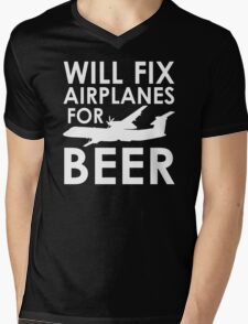 Will Fix Airplanes for Beer, Q400 Mens V-Neck T-Shirt