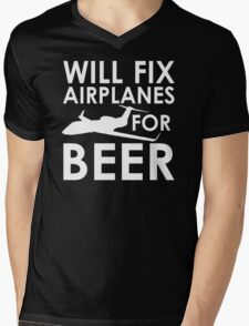 Will Fix Airplanes for Beer, G450 Mens V-Neck T-Shirt