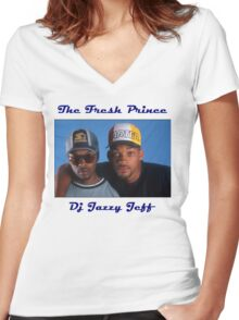 Dj Jazzy Jeff And The Fresh Prince Women's Fitted V-Neck T-Shirt