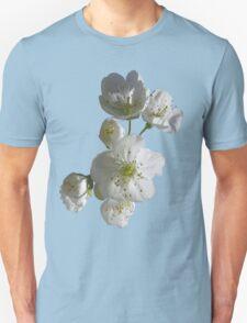 cherries in blosssom on blue serenity Unisex T-Shirt