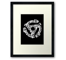 45 RECORD ADAPTER - extreme distressed white Framed Print