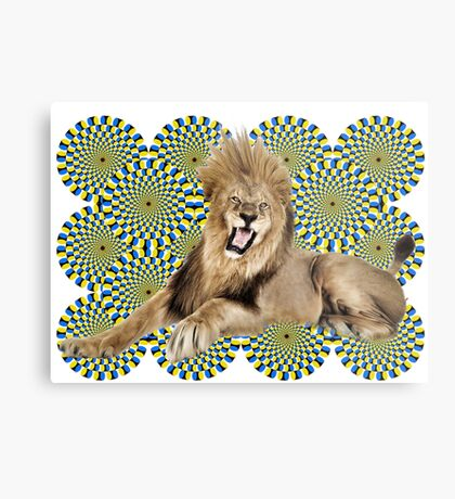 Roar Leo optical ilusion Metal Print