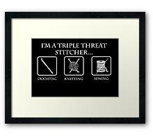 Triple Threat Stitcher White Framed Print