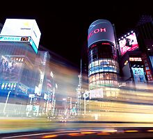Colorful light trails at night in Ginza Tokyo art photo print by ArtNudePhotos