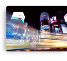 Colorful light trails at night in Ginza Tokyo art photo print Canvas Print