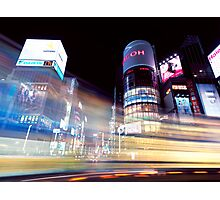 Colorful light trails at night in Ginza Tokyo art photo print Photographic Print