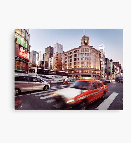 City traffic in Tokyo Ginza near Wako Department Store art photo print Canvas Print