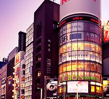 Ricoh building and colorful signs at twilight in Tokyo art photo print by ArtNudePhotos