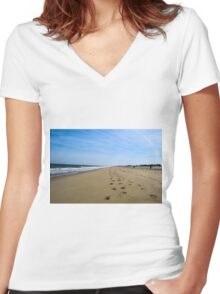 Beach Footprints & Sunshine Women's Fitted V-Neck T-Shirt