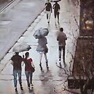 Walk in the rain, George St, Sydney by Mick Kupresanin