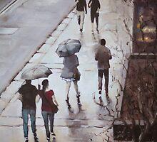 Walk in the rain, George St, Sydney by Mick Kupresanin