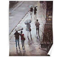 Walk in the rain, George St, Sydney Poster