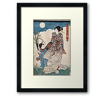 Moon - Kunisada Utagawa - 1844 - woodcut Framed Print