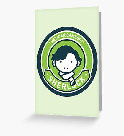 Cute Sherlock Holmes in Green Greeting Card