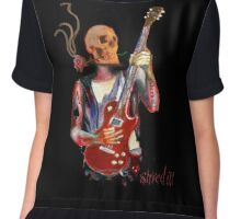 Shred it , skull guitar player with tattoos Chiffon Top