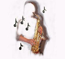 Abstract saxophone player, music , instruments by Tom Conway